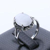 Ringar för kvinnor Smycken Billiga Silver Vit Ovala Opal Ring Engagement Bröllop Ringar