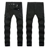 Erkekler Sıkıntılı Skinny Jeans Moda Erkek Jeans İnce Motosiklet Moto Biker Erkek Denim Pantolon Hip Hop Erkekler Jeans 1288 Ripped