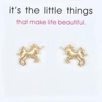 귀여운 유니콘 귀걸이 합금 절묘한 골드 실버 색상 스터드 귀걸이 여자의 페가수스 매력적인 카드 소녀를위한 쥬얼리 선물