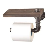 Plata Industrial Urban Rustic tubería de hierro soporte del rollo de papel higiénico Papel higiénico de madera estante de almacenamiento que cuelga estantes de madera