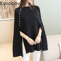 Korobov Kazaklar Kadın Pelerin Sonbahar Yeni Örme Kruvaze Boy Kazak Batwing Sleeve Katı Sueter Mujer 78524