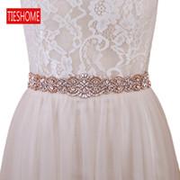 TIESHOME BS161B-RG Cinturón nupcial de oro Rose Boda Rhinestone Cinturón de Rhinestone con vestidos de boda Cinturón de faja nupcial