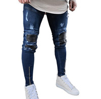 أحدث تصميم الرجال صالح سليم ممزق الجلد مصمم نمط غرزة سحاب نحيل جينز يؤلمها الدينيم ركض رجال راكب الدراجة النارية سروال جينز