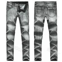Tamaño Plus Hombres 38 Gris Denim Jeans ajustado de los Parches Bordados estiramiento de la manera del vaquero pantalones para hombre
