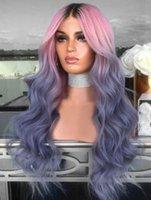 Parrucche sintetiche 70 cm Shuohan parrucca in fibra ad alta temperatura corpo corpo onda ondulata netto netto nessuno pizzo colorato ombre nero rosa blu sx329 lungo