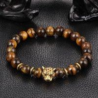Pulsera de Buda del oro del leopardo Mayforest grano de la cabeza para los hombres de las mujeres de la lava de piedra natural del ojo del tigre Cuentas Hombre Hombre Pulseras al por mayor de pulsera