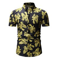 Short Sleeve Shirt Men Flower Hawaiian Shirt Slim Fit Casual...