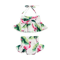 Newborn Kid Baby Girl Flamingo Sleeveless Swimwear Swimsuit ...