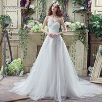 2019 Simple White A- line Tulle Sweetehart Lace Up with Appli...