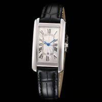 Женщина Часы Леди Мода Серебряный Чехол Белый Набор Часы Кварц Движение Платье Часы Кожаный Ремешок 08-1