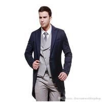 Yakışıklı Sabah Stil Man tailcoat Suit Wedding Erkek Damat smokin Parti Balo İş Takımları (Ceket + Pantolon + Vest + Tie) J279