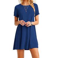 Alta calidad moda mujer negro azul vestido verano manga corta o-cuello Casual vestido suelto mujer calle más tamaño Vestidos