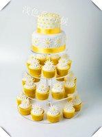 `4ティアハナ形ユニークなレイアウト美しいグレースクリアアクリルカップケーキスタンドパーティー/結婚式の装飾/祭りの供給