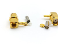 100pcs RP-SMA Plug pin femmina ad angolo retto Crimp per adattatore LMR100 RG316 RG174 RF