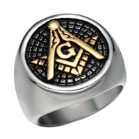 Varm Försäljning 316 Rostfritt stål Gratis Mason Masonic Signet Ring Smycken Artiklar Guldplätering Svart Olja Dropp Frimasonära Silver Ringar För Män