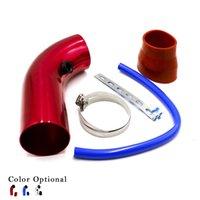 Aluminio universal del aire del tubo de admisión Tubos de admisión de aire del sistema de conductos de tubo Kit de filtro de aire de 76 mm de 3 pulgadas TT100453