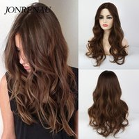 JONRENAU Synthetic Long Natural Wave Hair Dark Brown Wigs fo...