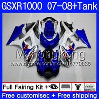 7Gifts + Tank Pour SUZUKI GSXR-1000 K7 GSX-R1000 GSXR 1000 07 08 301HM.12 Stock bleu chaud GSXR1000 07 08 Carrosserie GSX R1000 2007 2008 Carénages