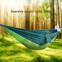 Pieghevole esterno Hammock campo Camping paracadute panno altalena appesa Bed Nylon Amaca con corde Moschettoni 9 colori DH1339