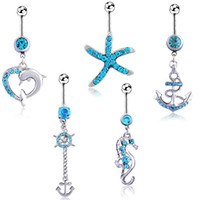 5 pz / set stella marina delfino pesce cristallo blu gioielli corpo strass in acciaio inossidabile ombelico campana pulsante piercing ciondola gli anelli per le donne regalo