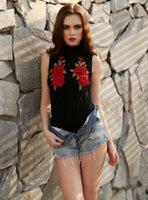 Femmes manches Casual Floral Bodysuit Embroideried Jumpsuit Romper Tops