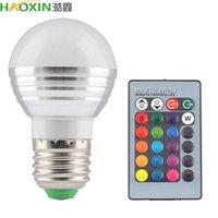원격 HaoXin 스마트 홈 LED 램프 전구 E27 E14 RGB LED 램프 전구 montion 센서 E27 E14 85-265V 5W로 24Key 제어