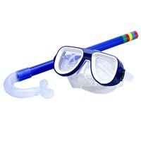 Children Safe Snorkeling Diving Mask + Snorkel Set Swimming Set Water Sports For Kid 3-8 Years Old Blue