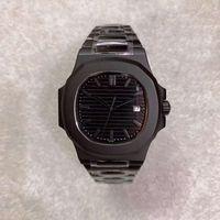 U1 Фабрика Последнее качество Все черные мужские часы 5711 Автоматическое гравировальное движение 40 мм Сапфировый стеклянный набор прозрачный назад