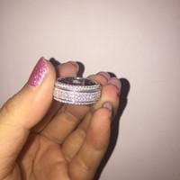 2020 nuevo verano con incrustaciones de cristal de la plaza de Swarovskis para las mujeres 925 joyas de moda al por mayor anillos de boda anillo giratorio