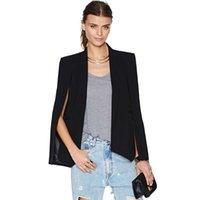 Mode Cape Cape Blazer Femmes Manteau Black revers Split Manches longues Pochettes Vêtements de dessus Solid Casual Veste Veste Vêtements de travail XL