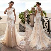 Vintage Boho Sirena Vestidos de novia Champagne Lace Plus Tamaño Vestido de novia Vestidos nupciales Dubai Vestido de recepción Vestidos de Noiva