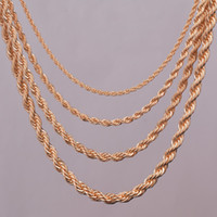 """Collier de chaîne corde plaqué or classique 2mm, 3mm, 4mm, 5mm pour chaîne de bijoux de bijoux de corde de bricolage longueur 16 """"18"""" 20 """"24"""" 24 """""""