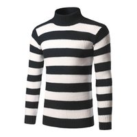 Mens Bold Stripe Sweaters 3 Colors Slim Fit Turtle Neck Long...