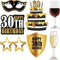 С Днем Рождения Сфотографируйте Prop Смешной партия украшение 30 Years Old Paper Adult Golden Креативный Hot Sales 7 5lzC1