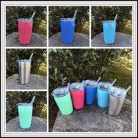 5 цветов 12oz чашки Kid Молоко с вакуумной изоляцией пиво Кружки из нержавеющей сталь вина стекла кофе Кружка с крышкой с Стро CCA9237 30штом