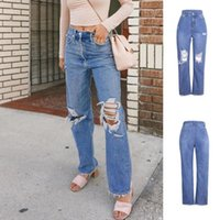Jeans Women Leisure Loose High Waist Retro Wide Leg Women Je...