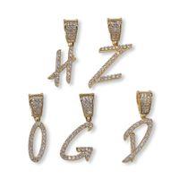 Nuevo Iced Out Brush Font Letras Nombre Cadena Colgante Oro Plata Bling Zirconia Hombres Hip Hop Collar Con Cadena de cuerda libre de 24 pulgadas