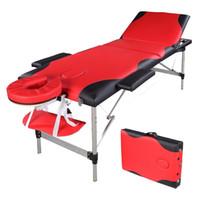 Tavolo termale di Waco, mobili da massaggio a 3 volte, portatile bordeaux reiki tubo di alluminio, corpo facciale Body Body Building Bed Bed (Red with Black)