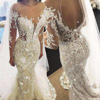 Vestido de novia de manga larga con cuentas apliques de encaje de glamour sirena champán 2020 Vestido de Noiva