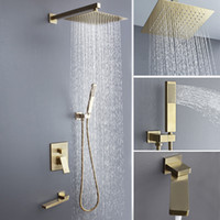 Золотой дождь ванной смеситель для душа Горячий Холодный смеситель Установка ванны Душевые 2MM Ультра Система Душ Thin 304SUS Showerhead