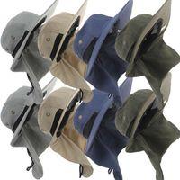 Party Secchio Sole Flap Bonnie Snap Hat Neck Ear Cover protetto PESCA PESCA Escursionismo Caccia Cappelli 4 colori