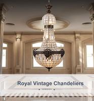 레트로 빈티지 매력적인 로얄 제국 스타일 큰 Led 크리스털 크리스탈 샹들리에 램프 Lustres 조명 E14 호텔 교회 거실