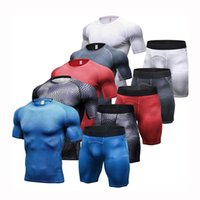 Tight Men Gym Suits Fitness Short Pants and Shirts Moisture ...