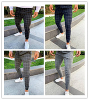 Moda Plaid Pantalones de diseñador para hombre impresos masculinos con cordón pantalones de lápiz Pantalones para hombre ocasionales Nueva llegada