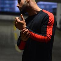Пустая доска сплошной цвет хлопка мужской длинный участок Тонкий с длинными рукавами футболки шею цвет спортивный фитнес хип-хоп мода осень WGTX103