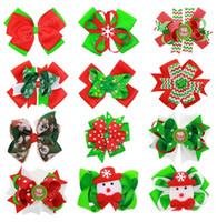 새로운 여자 아기 어린이 헤어 액세서리 Bowknot 크리스마스 헤어핀 머리 장식 장식품 인쇄 헤어핀 Horquillas