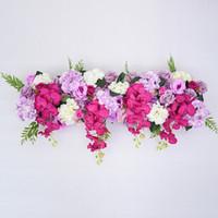 50cm fila fiore di DIY Acanthosphere Rose Eucalipto nozze decorazione fiori rosa peonia, fiore ortensia pianta mix arco fila fiore artificiale