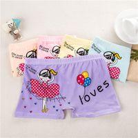 4pcs / lot Crianças Underwear Lingerie New Girl Boxer amante 3-10 Ano do bebê caçoa a menina Calcinhas dos desenhos animados