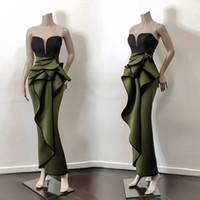 Basit Tasarım Hunter Yeşil Akşam Parti Elbise 2020 Sweetheart Vintage Peplum Denizkızı Uzun Arapça Dubai Durum Hüsniye Moda