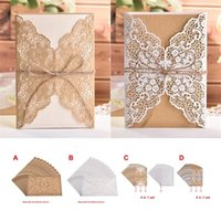 Flower Hollow Laser Cut Wedding Invitations White Elegant We...